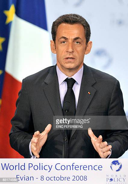 France's President Nicolas Sarkozy delivers a speech on October 8 2008 in EvianlesBains French Alps during a session of the first World Policy...