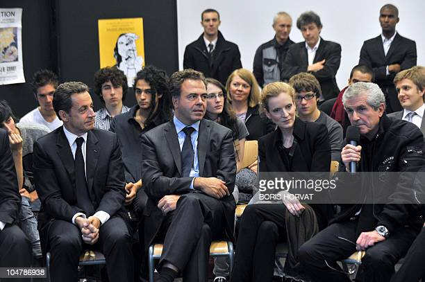 France's President Nicolas Sarkozy, Education MinisterLuc Chatel, and Junior Minister in charge of Forward Planning, Assessment of Public Policies...