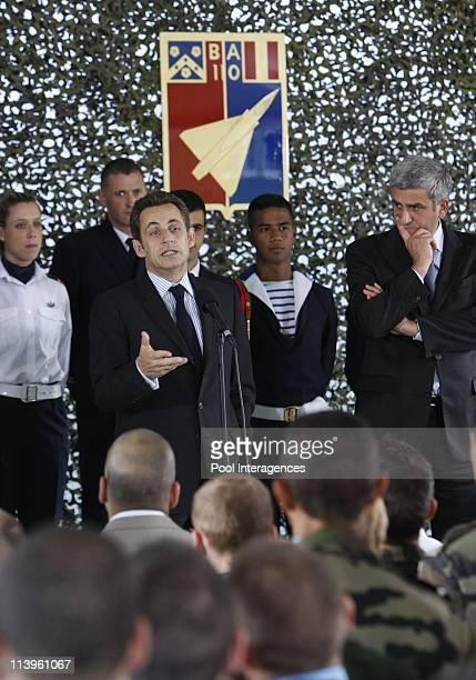 France's President Nicolas Sarkozy visits military airbase in Creil France on June 17 2008France's President Nicolas Sarkozy with Defense Minister...