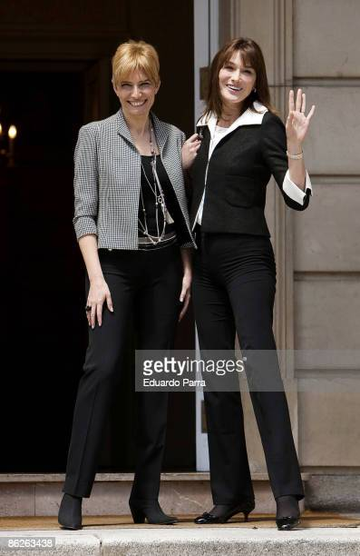 France's President Nicolas Sarkozy's wife Carla Bruni-Sarkozy meets with Spanish Prime Minister Jose Luis Rodriguez Zapatero's wife Sonsoles Espinosa...