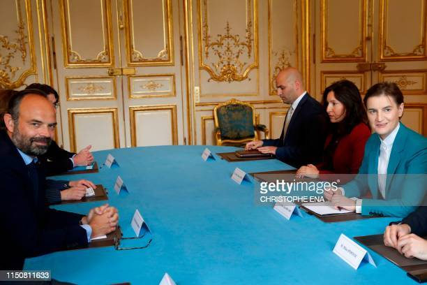France's Prime Minister Edouard Philippe and Serbia's Prime Minister Ana Brnabic pose before taking part in a meeting at the Hotel Matignon in Paris...