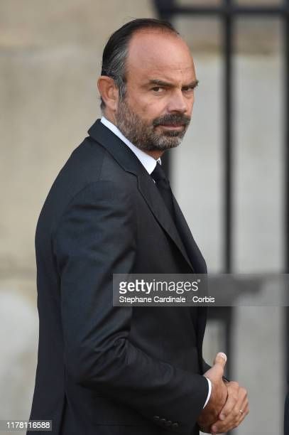 France's Prime Minister Edouard Philippe arrives to attend a church service for former French President Jacques Chirac at Eglise Saint-Sulpice on...