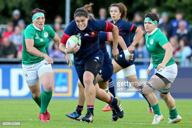 France's prop Annaelle Deshayes makes a break during the Women's Rugby World Cup 2017 pool C rugby match between France and Ireland at The UCD Bowl...