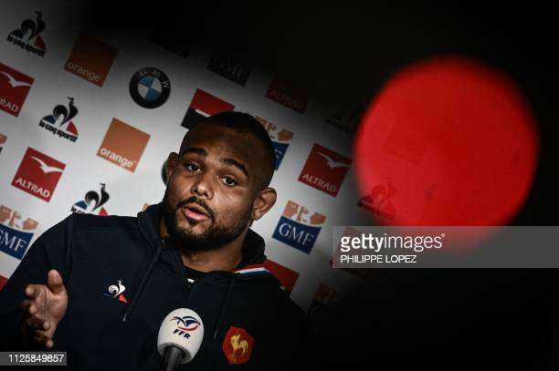 France's prop Jefferson Poirotspeaks during a press conference on February 19 2019 in Marcoussis southern Paris ahead of their Six nations Nations...