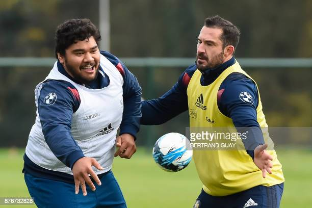 France's prop Sebastien Taofifenua attends a training session on November 20 in Marcoussis south of Paris ahead of the international rugby union test...
