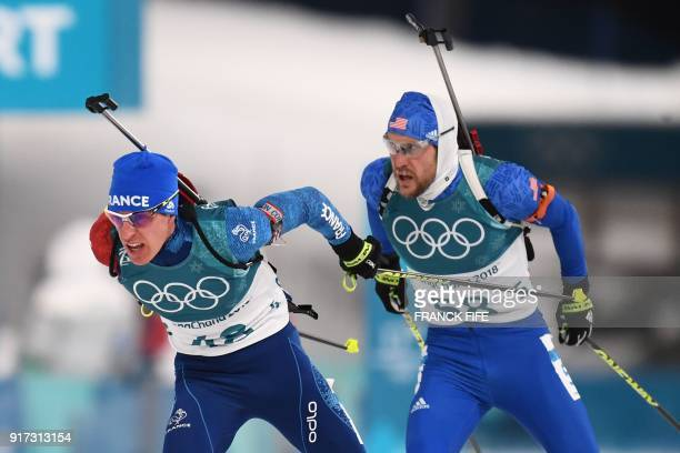 France's Quentin Fillon Maillet and USA's Leif Nordgren compete in the men's 125km pursuit biathlon event during the Pyeongchang 2018 Winter Olympic...