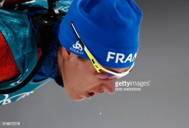 France's Quentin Fillon Maillet competes in the men's 10km sprint biathlon event during the Pyeongchang 2018 Winter Olympic Games on February 11 in...