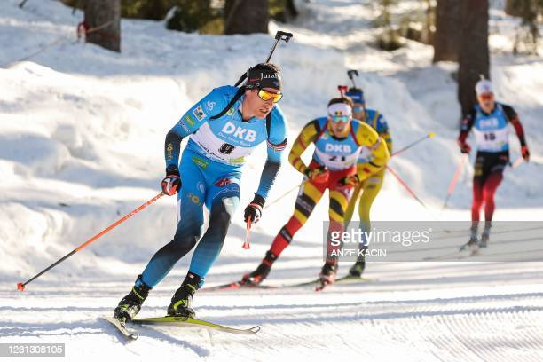 France's Quentin Fillon Maillet competes in the Men's 15 km Mass Start event at the IBU Biathlon World Championships in Pokljuka, Slovenia, on...