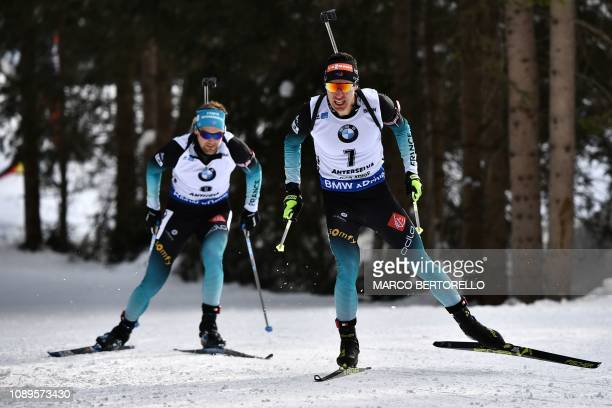 France's Quentin Fillon Maillet competes on his way to place third of the men's 125 km pursuit event of the IBU Biathlon World Cup in RasenAntholz...