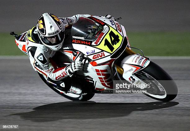 France's Randy De Puniet of LCR Honda Team races during the 2010 MotoGP free practice at the Losail International Circuit in Doha on April 10 2010...
