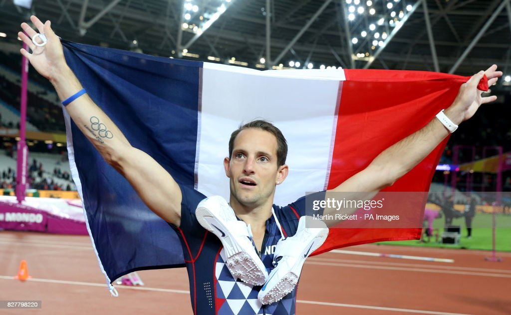 France's Renaud Lavillenie after winning bronze in the Men's Pole Vault Final during day five of the 2017 IAAF World Championships at the London Stadium.