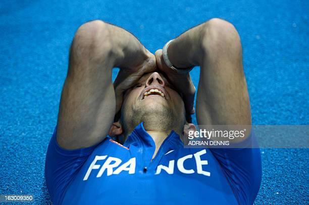 France's Renaud Lavillenie celebrates winning the Pole Vault Men's Final at the European Indoor athletics Championships in Gothenburg, Sweden, on...