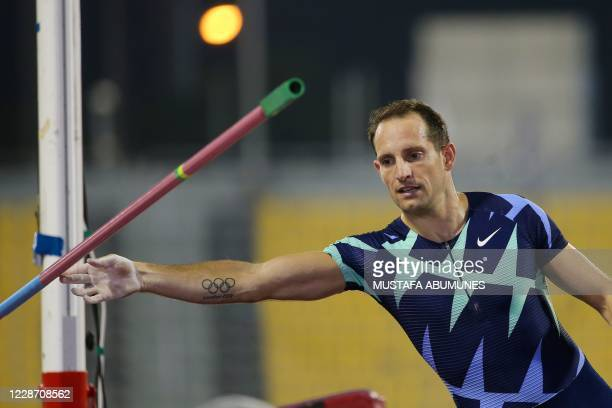 France's Renaud Lavillenie competes in the Men's pole vault during the IAAF Diamond League competition on September 25, 2020 at the Suheim Bin Hamad...