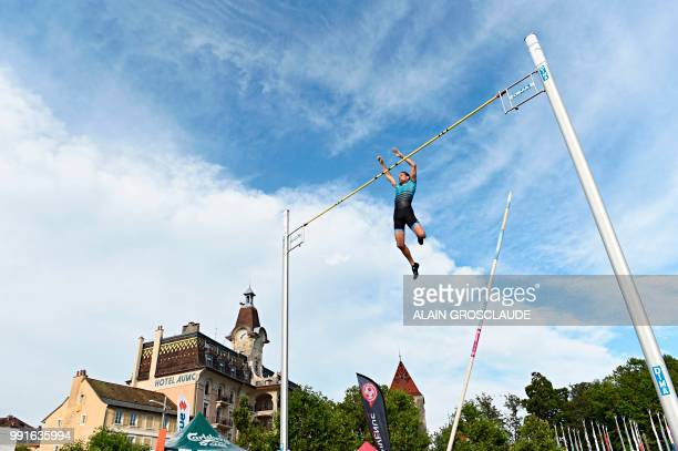 France's Renaud Lavillenie competes in the men's polevault event ahead of the IAAF Diamond League athletics meeting Athletissima in Lausanne on July...