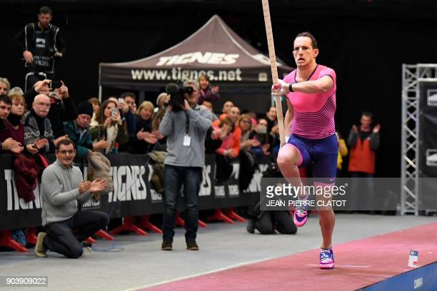 France's Renaud Lavillenie competes in the pole vaulting event during the Tignes Open Indoor athletics meeting in Tignes on January 11 2018 / AFP...