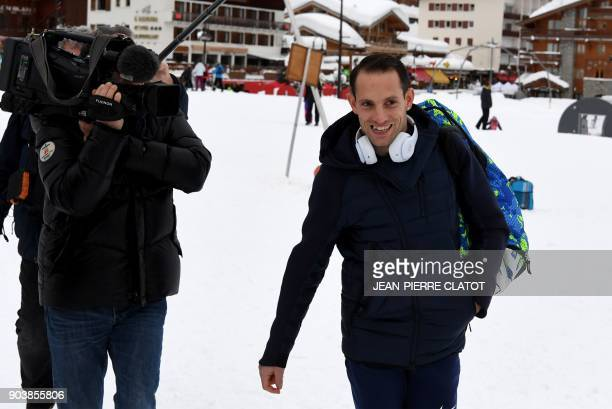 France's Renaud Lavillenie leaves his hotel before the 'Tignes Open Indoor' pole vault athletics event in Tignes on January 11 2018 Renaud Lavillenie...