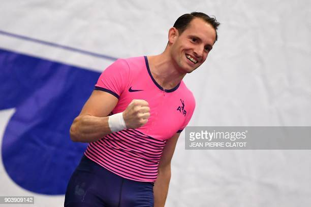 France's Renaud Lavillenie reacts as he competes in the pole vaulting event during the Tignes Open Indoor athletics meeting in Tignes on January 11...