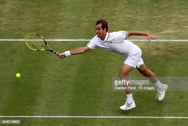 France's Richard Gasquet in action against Spain's Nicolas Almagro during day five of the 2012 Wimbledon Championships at the All England Lawn Tennis...