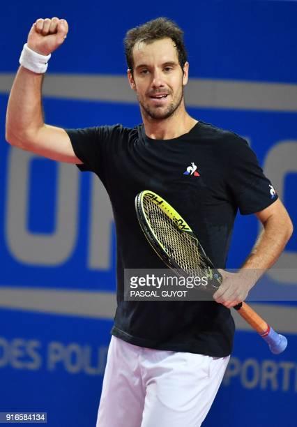 France's Richard Gasquet reacts after winning against Belgium's David Goffin during their ATP World Tour Open Sud de France semi final tennis match...