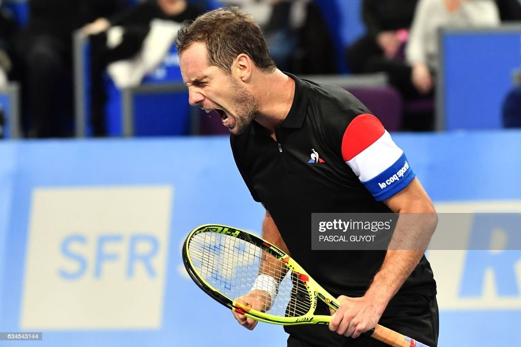 France's Richard Gasquet reacts during his tennis match against France's Kenny de Schepper during the Open Sud de France ATP World Tour in Montpellier, southern France, on February 10, 2017. /