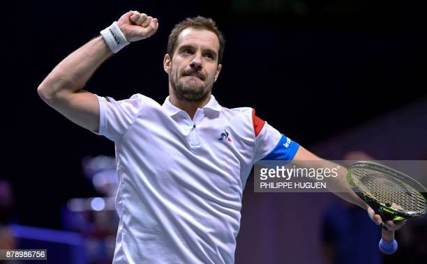 France's Richard Gasquet reacts during the doubles tennis match at the Davis Cup World Group final between France and Belgium at Pierre Mauroy...