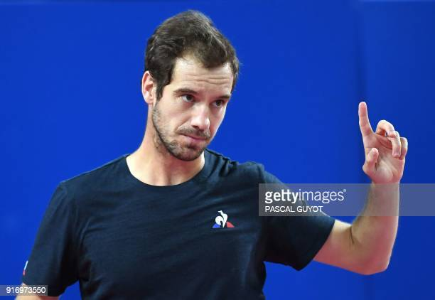 France's Richard Gasquet reacts during the final of the ATP World Tour Open Sud de France against France's Lucas Pouille in Montpellier southern...