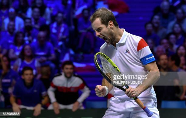 France's Richard Gasquet returns the ball during the doubles tennis match at the Davis Cup World Group final between France and Belgium at Pierre...