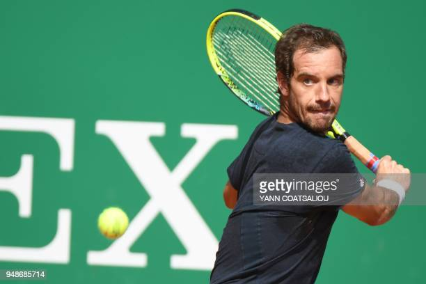 France's Richard Gasquet returns the ball to Germany's Mischa Zverev during their men's single tennis match at the Monte-Carlo ATP Masters Series...