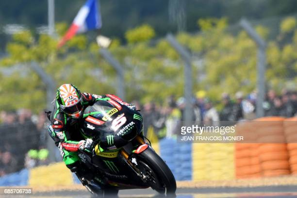 TOPSHOT France's rider Johann Zarco competes on his Monster Yamaha TECH 3 MOTOGP N°5 during a motoGP free practice session ahead of the French...