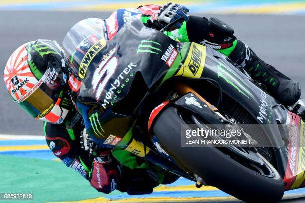 TOPSHOT France's rider Johann Zarco competes on his Monster Yamaha TECH 3 MOTOGP N°5 and clocked the third position on the starting grid during a...