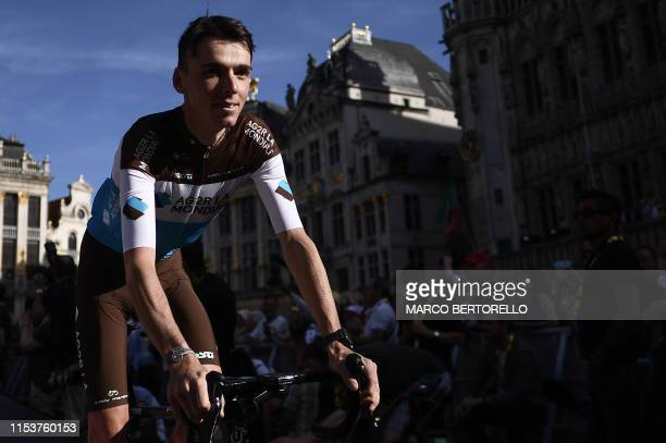France's rider Romain Bardet of France's AG2R La Mondiale rides during the team presentation ceremony at the Grand-Place - Grote Markt Square in...