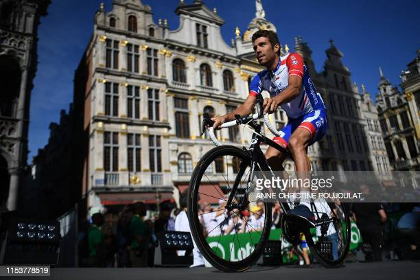 France's rider Thibaut Pinot of France's Groupama-FDJ arrives for the team presentation ceremony at the Grand-Place - Grote Markt Square in Brussels...