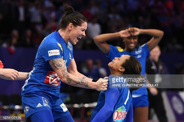 TOPSHOT France's right back Alexandra Lacrabere celebrates with France's centre back Allison Pineau after winning the EHF EURO 2018 European Women's...