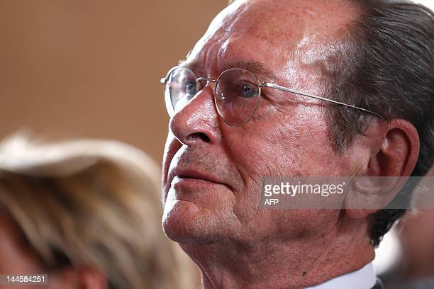 France's Rights defender Dominique Baudis listens to speeches on May 16 2012 at the Economic Social and Environmental Council of France in Paris as...