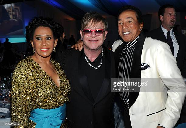 Frances Robinson Sir Elton John and musician Smokey Robinson attend the 20th Annual Elton John AIDS Foundation Academy Awards Viewing Party at The...