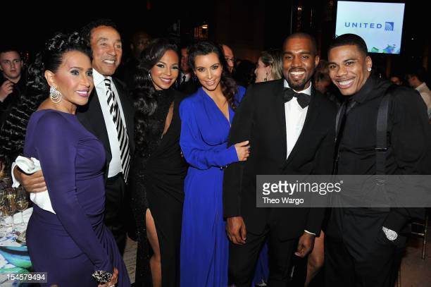 Frances Robinson Smokey Robinson Ashanti Kim Kardashian Kayne West and Nelly attend the Angel Ball 2012 hosted by Gabrielle's Angel Foundation at...