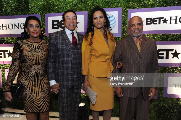 Frances Robinson Smokey Robinson Eskedar Gobeze and Berry Gordy are seen at BET Honors 2014 Debra Lee PreDinner at the National Museum of Women in...