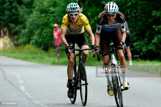 France's Romain Bardet counter attacks before Britain's Geraint Thomas in the last kilometers in the ascent of Bettex during the seventh and last...