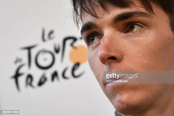France's Romain Bardet takes part in a press conference of the France's AG2R La Mondiale cycling team at the Congress center in Dusseldorf, Germany,...