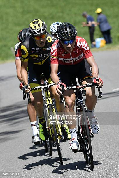 France's Romain Sicard and Belgium's Thomas De Gendt lead a breakaway during the 216 km fifth stage of the 103rd edition of the Tour de France...