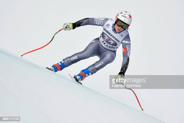 France's Romane Miradoli competes in the Ladies' SuperG race during the FIS Alpine Skiing World Cup in St Moritz on December 9 2017 / AFP PHOTO /...