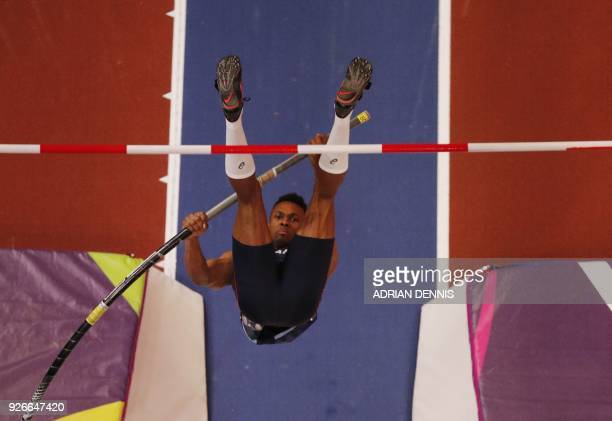 France's Ruben Gado competes in the men's pole vault heptathlon event at the 2018 IAAF World Indoor Athletics Championships at the Arena in...