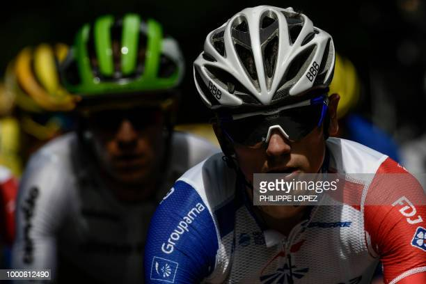 France's Rudy Molard rides in a breakaway group during the tenth stage of the 105th edition of the Tour de France cycling race between Annecy and Le...