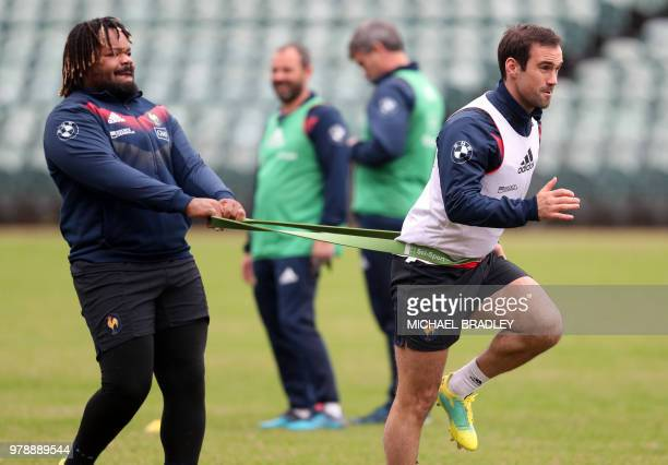 France's rugby captain Mathieu Bastareaud and Morgan Parra attend a training session at the QBE Stadium in Auckland on June 20 ahead of their third...