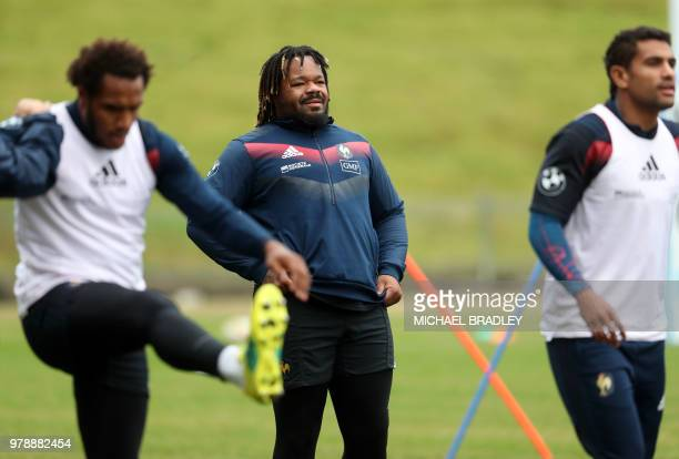 France's rugby captain Mathieu Bastareaud attends a training session at the QBE Stadium in Auckland on June 20 ahead of their third rugby Test match...