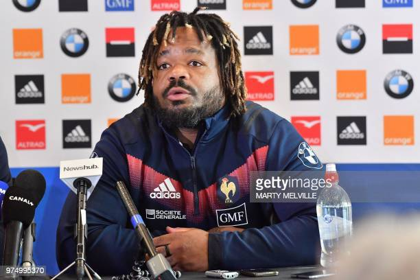 France's rugby team captain Mathieu Bastareaud speaks during a press conference at a hotel in Wellington on June 15 ahead of their second Test match...