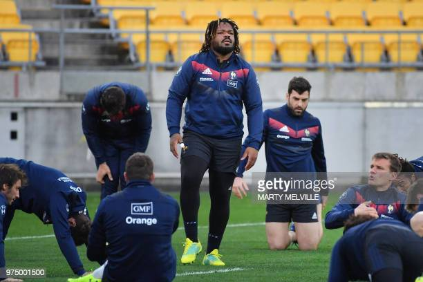 France's rugby team captain Mathieu Bastareaud warms up during the captain's run training session at Westpac Stadium in Wellington on June 15 ahead...