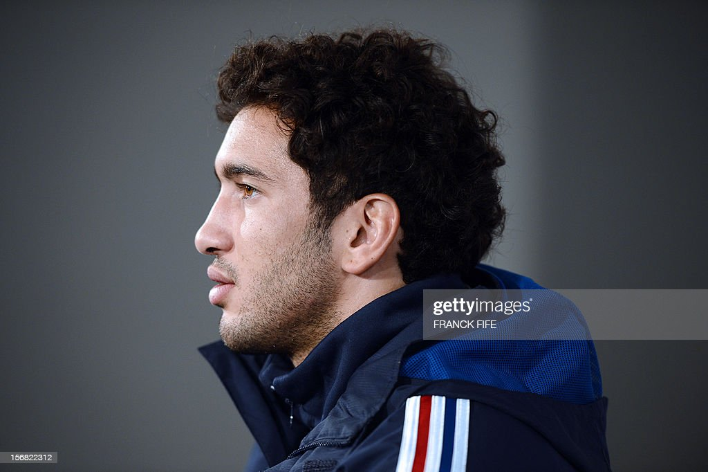 France's rugby union national team' centre Maxime Mermoz answers journalists questions during a press conference, on November 22, 2012 in Marcoussis, south of Paris, as part of the preparation for the upcoming last test match against Samoa on November 24, 2012 at the Stade de France, in Saint-Denis.