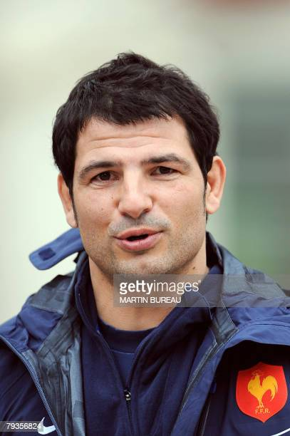 France's rugby union national team head coach Marc Lievremont arrives to attend a training session 29 January 2008 in Marcoussis south of Paris...