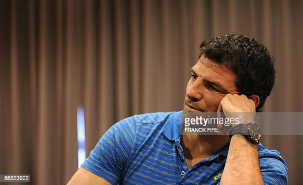 France's rugby union national team head coach Marc Lievremont attends a press conference in Wellington on June 17 2009 to present the French squad to...